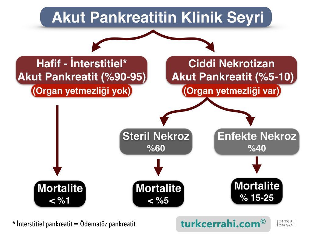 Akut pankreatitte klinik seyir (Atlanta sınıflaması)